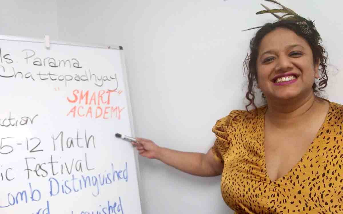 Parama Chattopadhyay offers tutoring at the SMART Academy, Somerville Armory